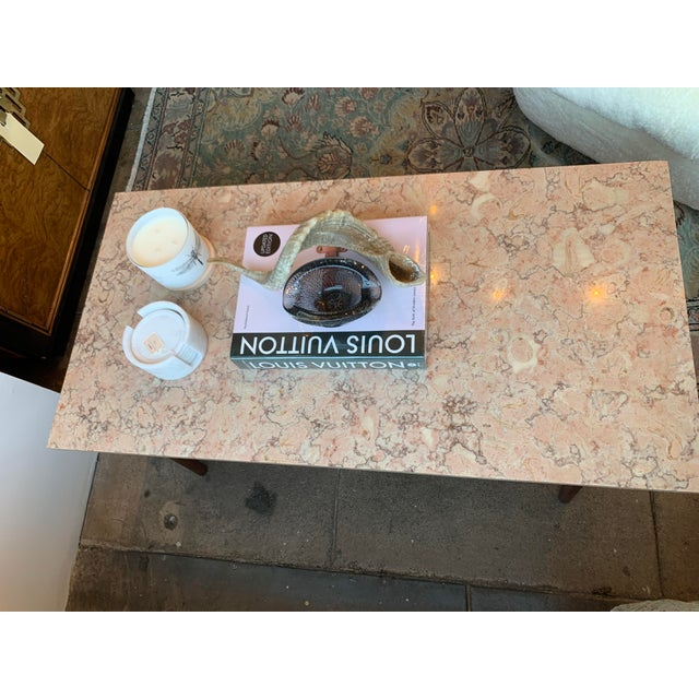 Mid-Century Modern Pink Marble Coffee Table For Sale - Image 4 of 12