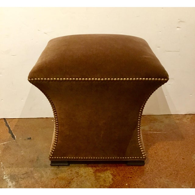 Modern Modern Ambella Home Cinched Brown Velvet Hassock For Sale - Image 3 of 6