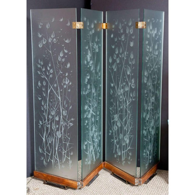French Four-Panel Etched Glass Screen For Sale - Image 3 of 10