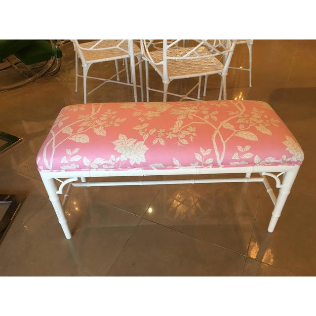 Asian Faux Bamboo Chinese Chippendale Pink Lacquered Bench For Sale - Image 3 of 10
