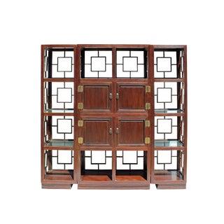 Chinese Set of 3 Vintage Elm Wood Glass Shelf Display Curio Cabinet Room Divider