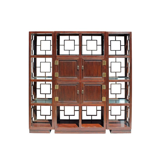 Chinese Set of 3 Vintage Elm Wood Glass Shelf Display Curio Cabinet Room Divider For Sale
