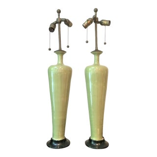 Hand-Made Vintage Celadon Colored Lamps - a Pair For Sale