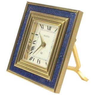 Gucci Vintage 8 Day Blue Lapis Travel Clock For Sale