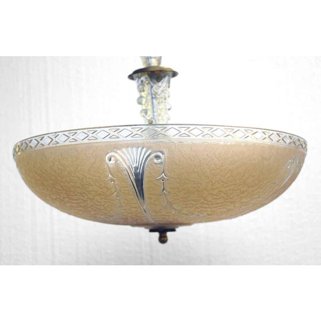 Peach Embossed Domed Glass Shade Fixture For Sale - Image 6 of 12