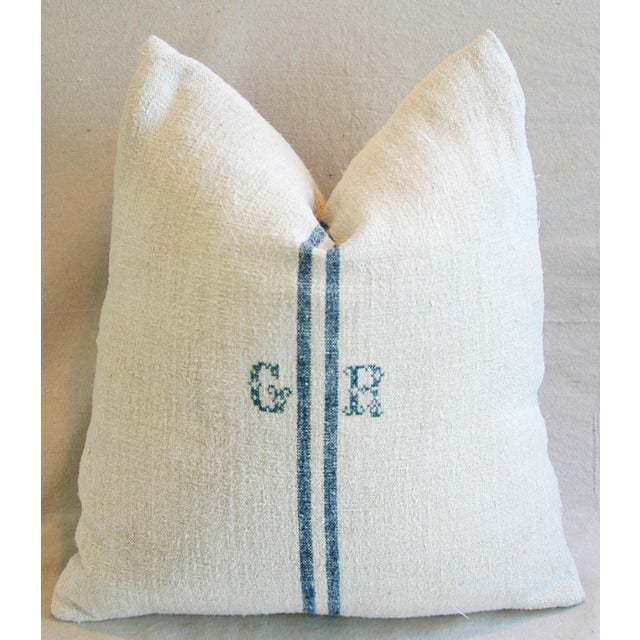 Blue Stripe French Grain Sack Down & Feather Pillow - Image 2 of 6
