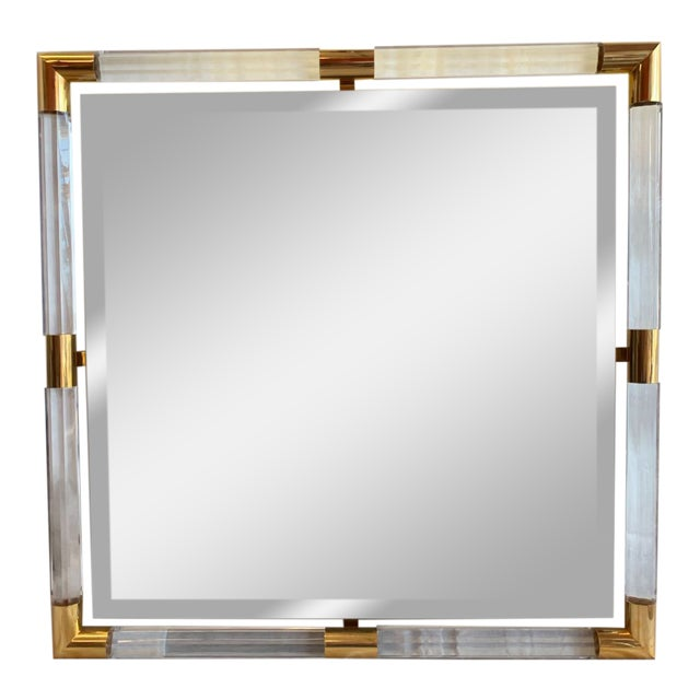 Charles Hollis Jones Style Lucite Mirror For Sale