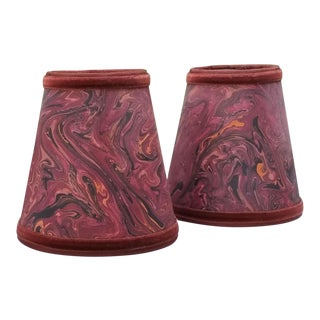 Marbleized Sconce Lampshades - a Pair For Sale