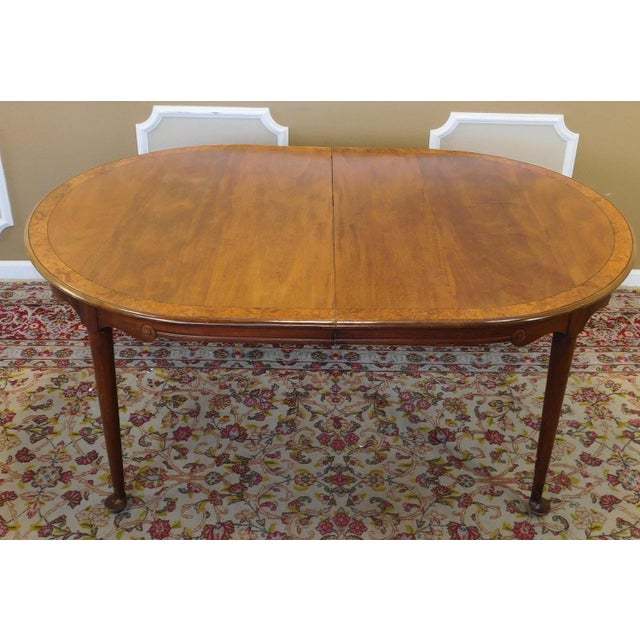 1980s Banded Walnut & Elm Dining Room Table W/ 2 Leaves For Sale - Image 10 of 10