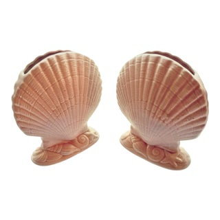 Vintage Larry Laslo for Mikasa Pink Seashell Vases - a Pair