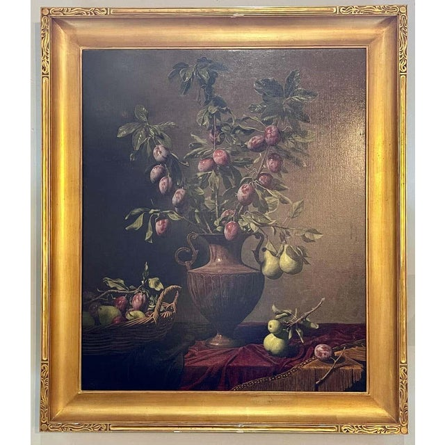 """Frank Arcuri, Still Life Oil on Canvas. Framed. """"Small Feast With Figs"""" 1999 For Sale - Image 13 of 13"""