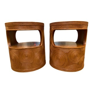 Bamboo/Rattan Night Stands/End Tables - a Pair For Sale