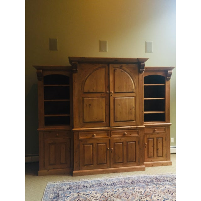 Vintage Hand Carved 3 Piece Pine Library Wall Unit For Sale - Image 4 of 6