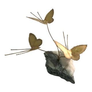 Vintage Brutalist Metal Butterfly Sculpture on Granite