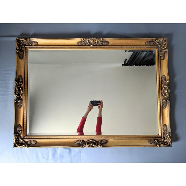 Large 20th Century Hollywood Regency Gold Wood Frame Mirror For Sale In Houston - Image 6 of 6
