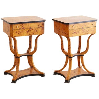 Pair of Swedish Biedermeier Sewing Table or Nightstands For Sale
