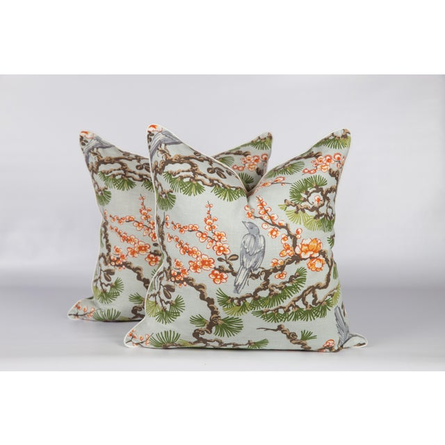 2010s Cherry Blossom Chinoiserie Pillows, a Pair For Sale - Image 5 of 5