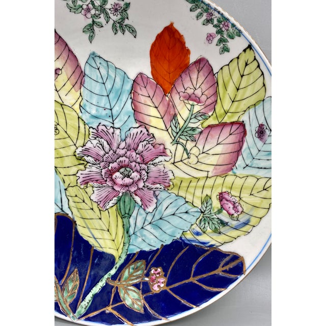 20th Century Chinese Tobacco Leaf Pattern Plates - a Pair For Sale - Image 9 of 10