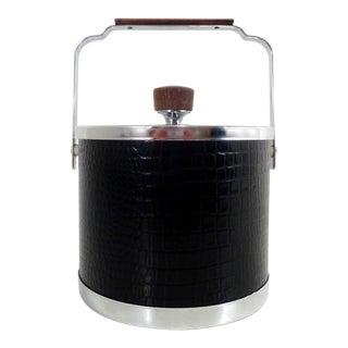 Vintage Faux Alligator Black & Chrome Ice Bucket For Sale