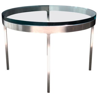 Nicos Zographos Side Table in Polished Stainless and Glass For Sale