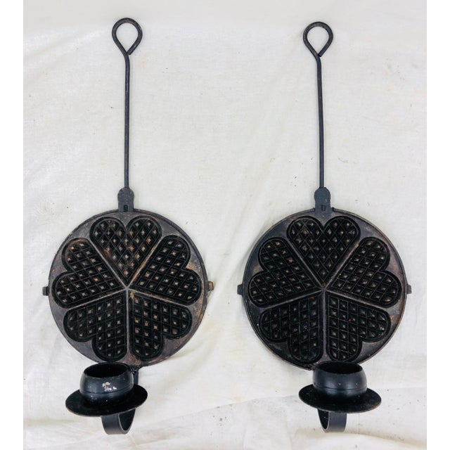 Abstract Pair Antique Dutch Cast Iron Sconces For Sale - Image 3 of 13