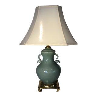 1980s Celadon Porcelain & Solid Brass Table Lamp For Sale