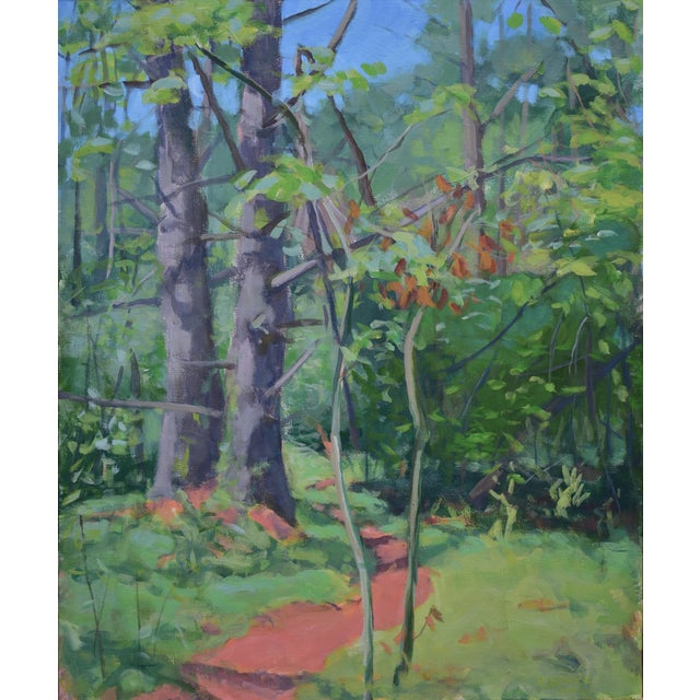 """Path With Two White Pines"". Contemporary Plein Air Painting by Stephen Remick For Sale"