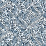 Sample - Schumacher Abstract Leaf Geometric Stripes Wallpaper in Navy Blue
