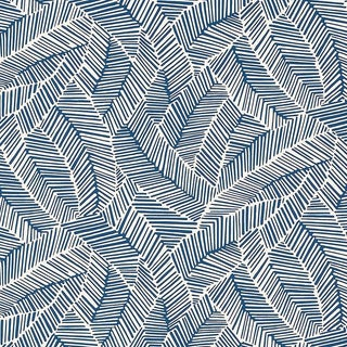 Sample - Schumacher Abstract Leaf Geometric Stripes Wallpaper in Navy Blue For Sale