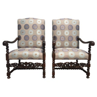 Antique 1880 French Walnut Chateau Chairs - A Pair For Sale