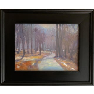 """Winter Path"" Contemporary Plein Air Landscape Painting, Framed For Sale"