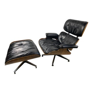 Early Eames Lounge Chair and Ottoman in Rosewood For Sale