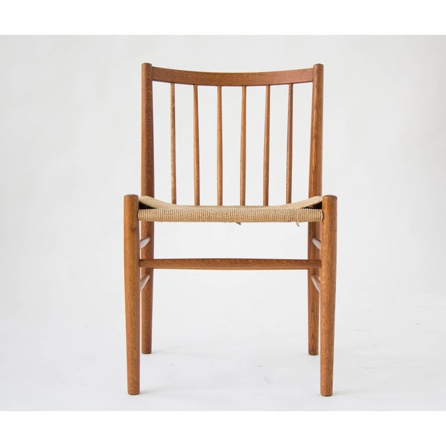 Spindle-Backed Oak and Danish Cord Dining Chairs - S/6 - Image 8 of 10