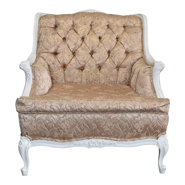 1950s Vintage French Blush Pink Brocade and White Armchair For Sale