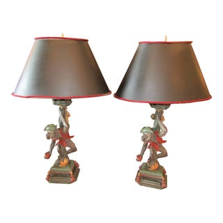 1990s Figurative Monkey in Pirate Fashion Lamps - a Pair For Sale