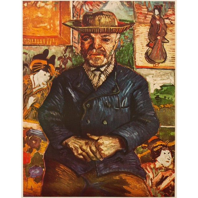 "A lovely circa 1950s vintage tipped-in lithograph after portrait ""Pere Tanguy"" (1887, Paris) by Vincent Van Gogh...."