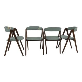 Set of 4 Danish Modern Teak Dining Chairs by Kai Kristiansen For Sale
