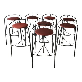 French Pascal Mourgue Lune d'Argent Metal Bar Stools, Set of 8