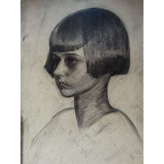 1920s Figurative Charcoal on Paper Drawing, Girl With a Bob by Ejnar Hansen Preview