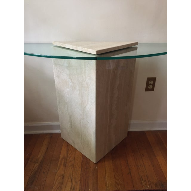 1980s 1980s Postmodern Geometric Travertine and Glass Console Table For Sale - Image 5 of 11