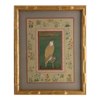 Vintage Indian Hand-Painted Falcon Framed by Flowers, Framed For Sale