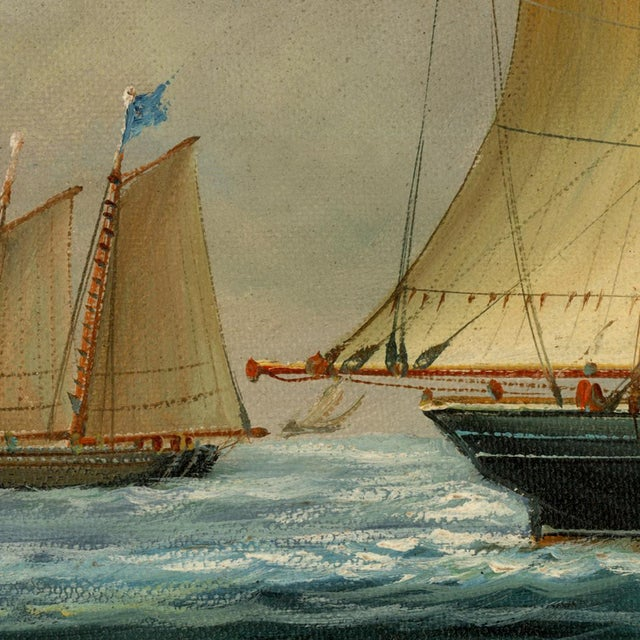 American Baltimore Clipper Architect Framed Oil Painting Print on Canvas in Antiqued Gold Frame For Sale - Image 3 of 4