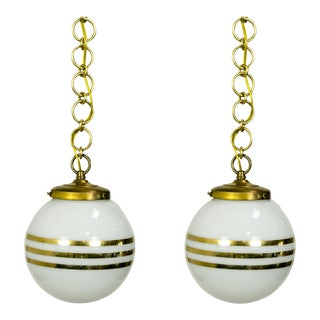 14-Carat Gold Striped Glass Pendants (pair) For Sale