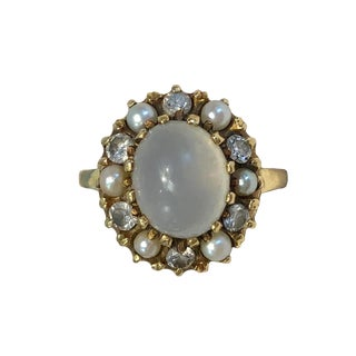 Victorian 14k Gold Moonstone, Diamond, Cultured Seed Pearl Ring For Sale