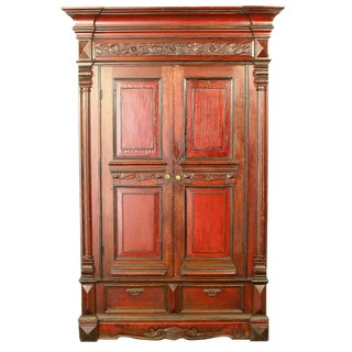 19th Century Chinese Wedding Wardrobe Armoire Cabinet For Sale