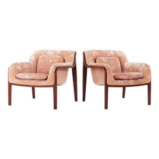 Vintage Mid Century Bill Stephens for Knoll Pink Velvet Lounge Chairs- A Pair For Sale