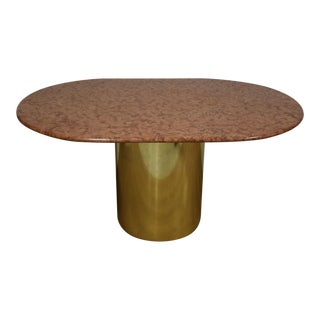 Pink Granite and Brass Dining Table
