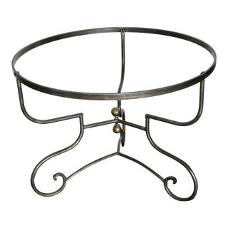 Vintage Silver and Brass Iron Pedestal Table