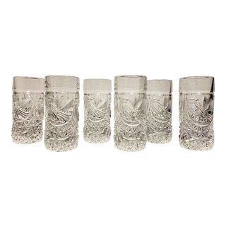 German Crystal Tumblers by Hofbauer - Set of 6 For Sale