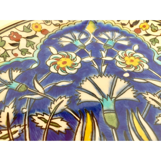 Ceramic Moorish Floral Design Polychrome Hand Painted Ceramic Decorative Plate For Sale - Image 7 of 10